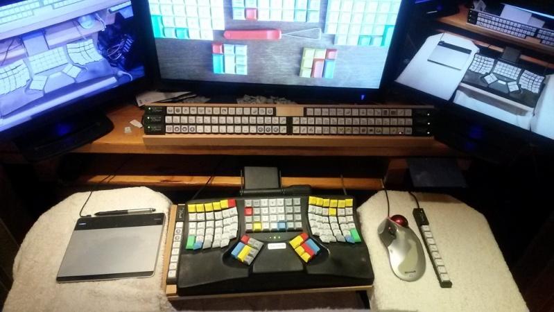 configuration tri ecran clavier maltron souris microsoft trackball explorer