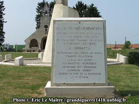 la stèle de la 38ème division d'infanterie.