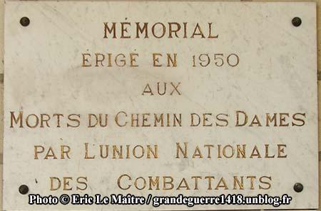 Plaque commémorative du mémorial du Chemin des Dames