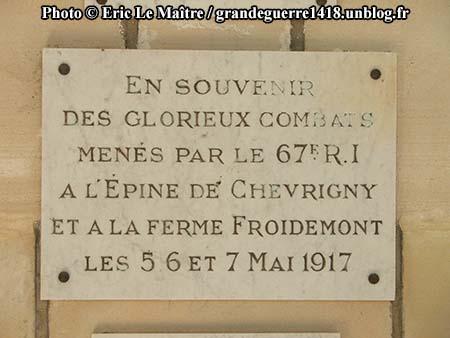 Aux glorieux combats menés par le 67e RI en mai 1917