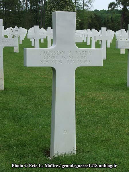 Sépulture de Jackson R. Tardy, mort le 23 juillet 1918