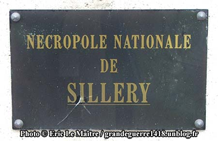 Nécropole Nationale de Sillery - Plaque à l'entrée