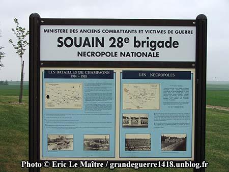 La Nécropole Nationale de Souain 28e Brigade - Panneau touristique