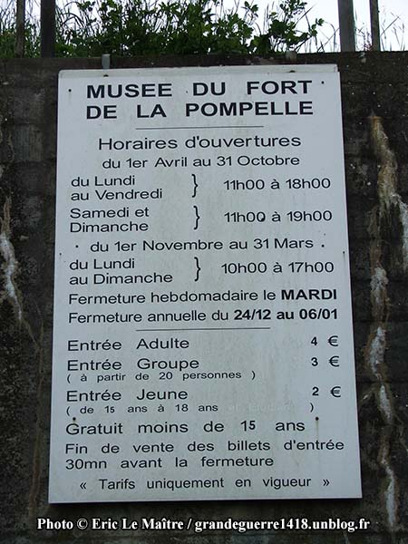 Horaire et tarif du musée du fort de La Pompelle