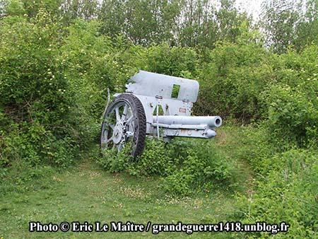 Un canon démonté du fort de La Pompelle
