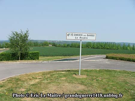 Panneau d'indication Chemin des Dames - La Royère