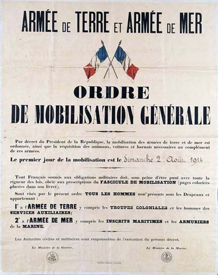 Affiche de la mobilisation générale en France le 2 août 1914