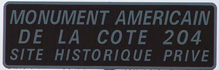 Panneau - Monument américain de la cote 204