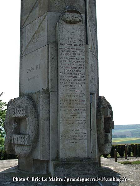 Le monument des Basques - A la gloire de la 36ème division d'infanterie