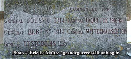 Le monument des Basques - Généraux commandants la 36e DI