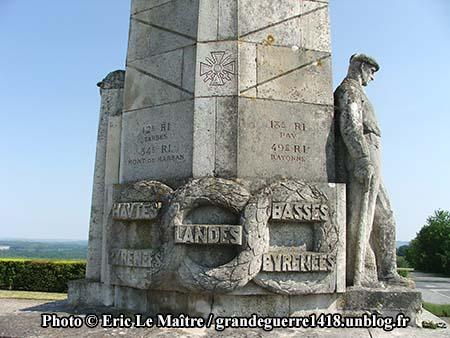 Le monument des Basques - 12e RI, 34 RI, 18e RI, 49e RI