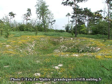 Vestige d'un emplacement de mitrailleuse site du Blanc Mont