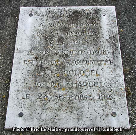 Inscription du Monument aux morts des 170e et 174e RI - Joseph Charlet