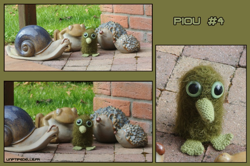 Piou vert, animal en crochet