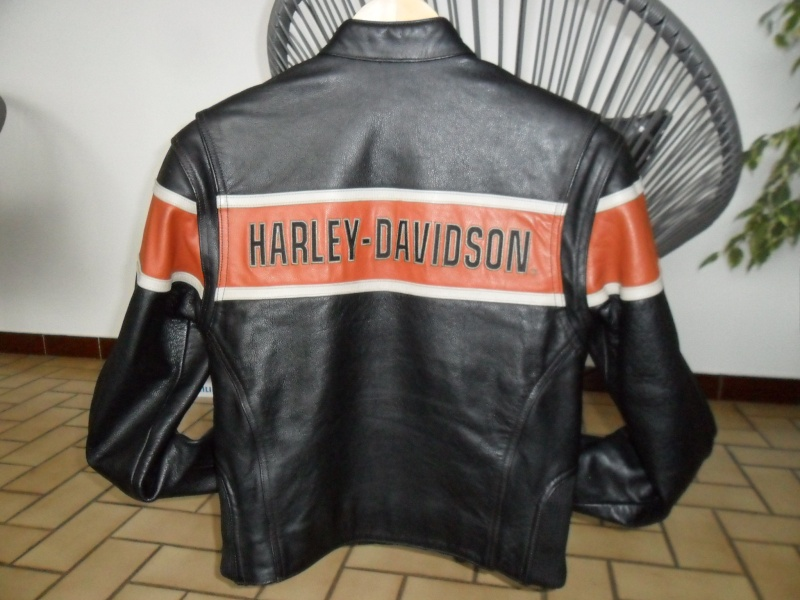 vends blouson femme harley davidson cuir noir orange. Black Bedroom Furniture Sets. Home Design Ideas