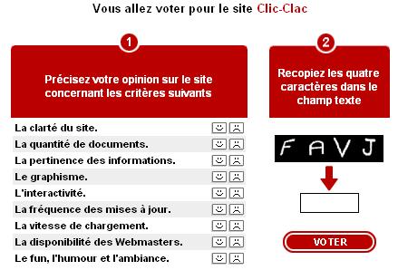 Aperçu de la page des votes du forum