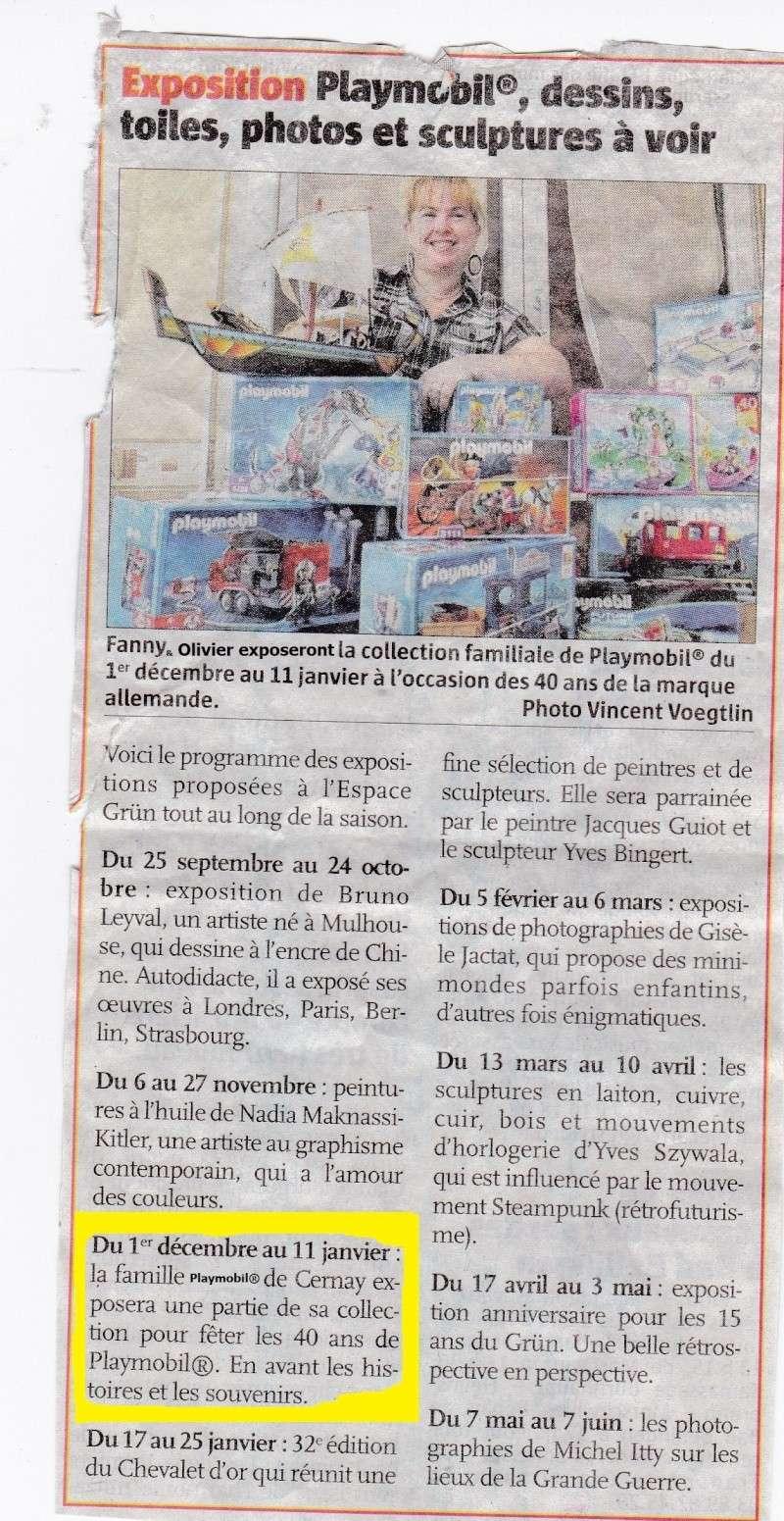 """journal l """"alsace du dimanche 21 septembre 2014 fanny et olivier expo playmobil"""
