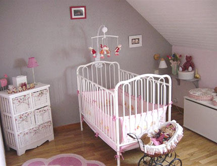 Chantier 2 chambre b b fille for Chambre rose pale et taupe