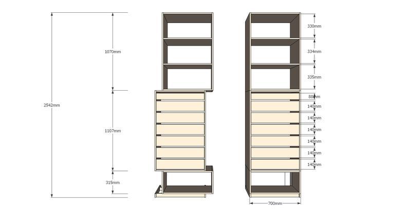 pas pas dressing et placards en enfilade. Black Bedroom Furniture Sets. Home Design Ideas