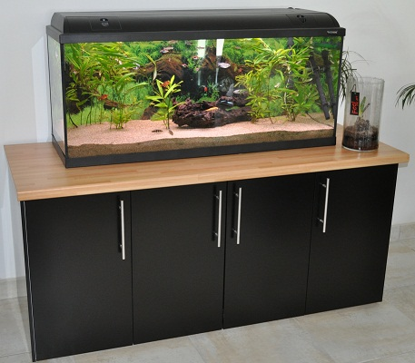 Meuble aquarium bois massif for Meuble aquarium design