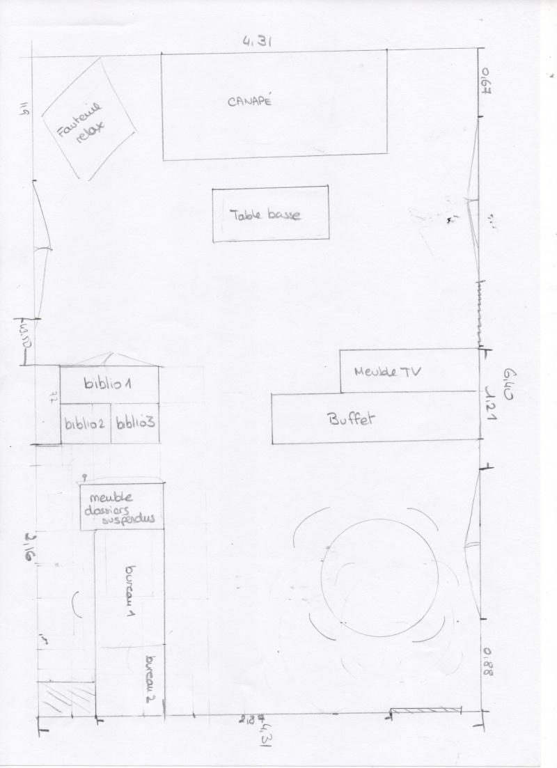 Am nagement salon salle manger bureau for Plan amenagement salon salle a manger