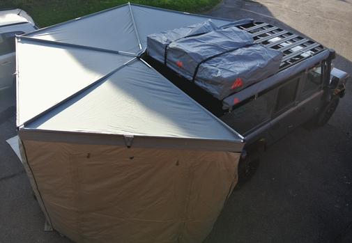 The Tuff Trek TT H1AR Wrap Around Awning With And Without Sides