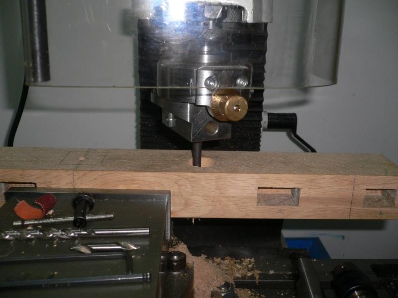 alésage du bois supportant les bagues