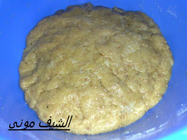 سكر 5 ملعقة كبيرة سمسم مش محمص ملعقة كبيرة ريحة
