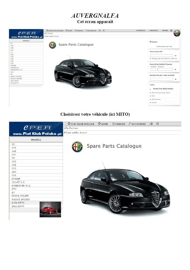 catalogue en ligne des pieces detachees alfa fiat lancia abarth. Black Bedroom Furniture Sets. Home Design Ideas