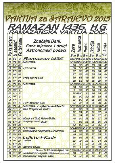 Ramazanska Vaktija Za Austriju 2015 | New Calendar Template Site