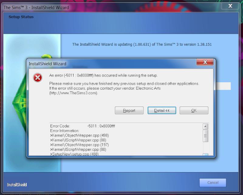 Sims 3 Patch Error: Update error: Invalid file found