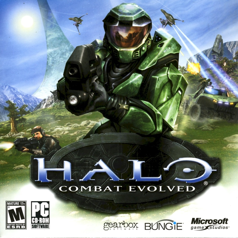 Trilogia original halo, halo wars, (PC Windows, Xbox, Xbox 360) Caratula de Halo: Combat Evolved.