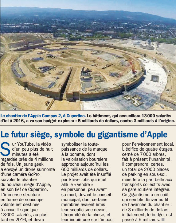 bient t visible sur google earth le nouveau si ge de apple campus 2 cupertino californie. Black Bedroom Furniture Sets. Home Design Ideas