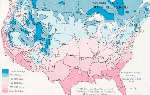 The Best Place To Be During Climate Change Page Survivalist - Us growing season map