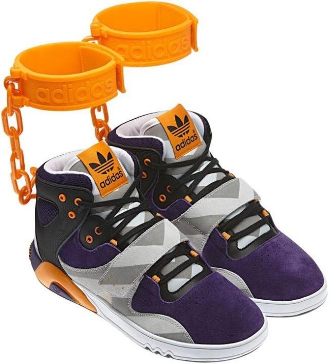 les Adidas Orignals Roundhouse, dessinées par le styliste Jeremy Scott rappellent furieusement les fers portés
