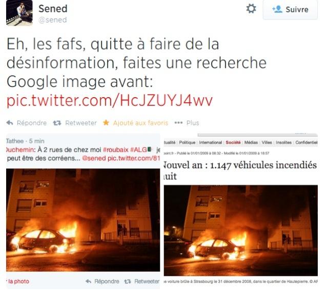 Elias Duchemin tente d'attribuer au supporters algériens de Roubaix l'incendie d'une voiture qui a eu lieu 6 ans plus tôt à Strasbourg !