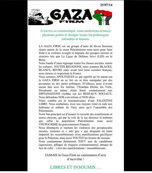 Communiqué de la Gaza Firm
