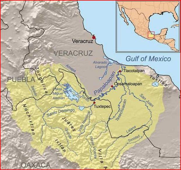 rivières du Mexique Río Papaloapan et Rio de las Mariposas