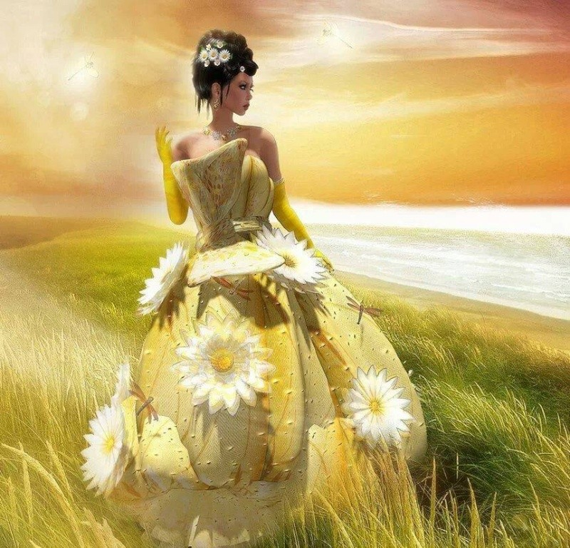 femme robe fleurs