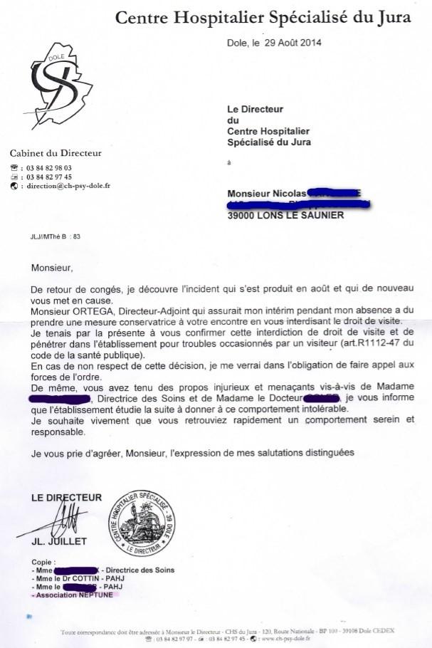 Lettre de Mr Jean-Luc Juillet - Neptune