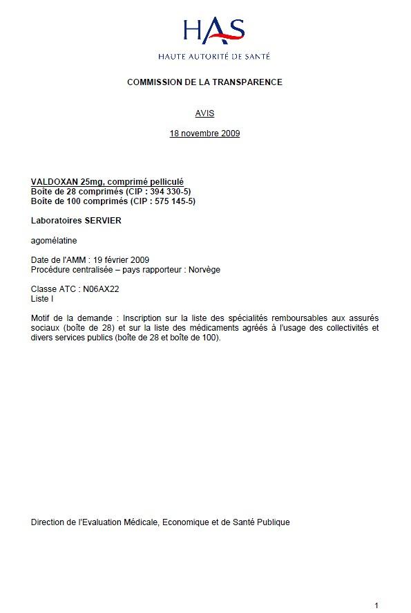 Valdoxan - Avis de la commission sur la transparence - Neptune