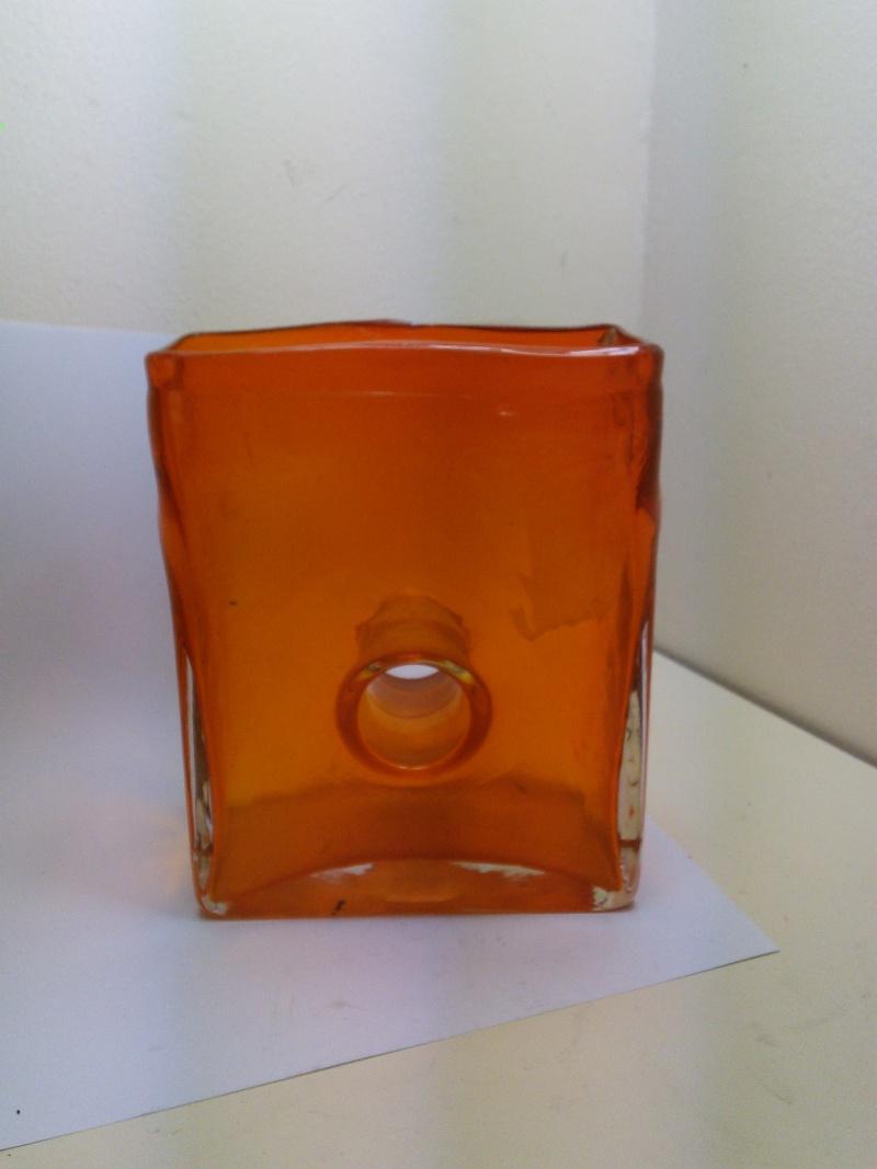 Flame Orange Rectangular Donut Hole Vase